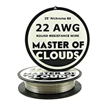 Nichrome 80 - 25 ft 22 Gauge AWG Resistance Wire 0.64mm 22g 25' by Master Of Clouds