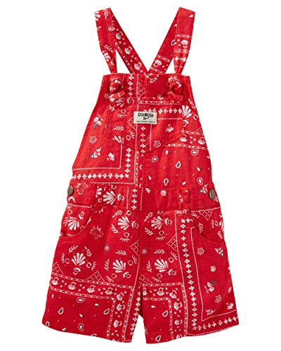 OshKosh B'gosh Little Girls' Bandana Print Linen-Blend Shortalls - Girls Linen Shorts