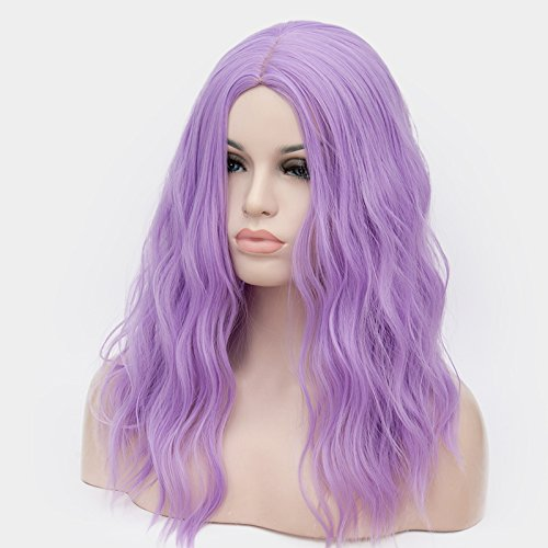 OneUstar Women's 18 inch Long Wavy Curly Wig Cosplay Party Wig Light Purple by OneUstar (Image #3)
