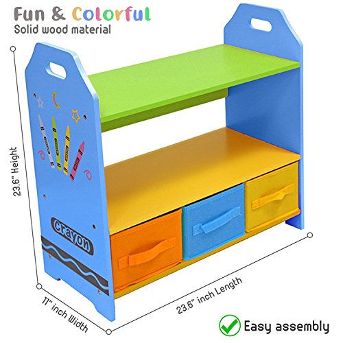 Toddler Size - Bebe Style Kids Wooden Shelves with Three Storage Boxes for Children - Crayon Themed, Colorful and Stylish, Easy to Assemble, Sturdy Material (Blue)