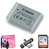 Canon Battery Pack NB-13L + 16GB Memory Card + Memory Card Reader + Camera Works Cloth (For: G7 X, G9 X, SX620 HS, SX720 HS, SX730 HS, G1 X Mark III, G5 X, G7 X Mark II, G9 X Mark II Digital Cameras)
