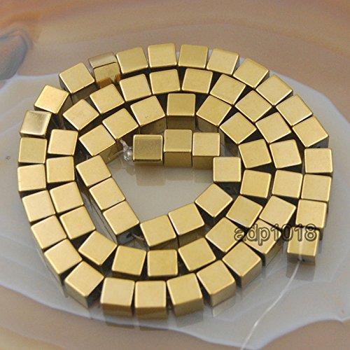 AD Beads Hematite Gemstone Smooth & Matte Square Cube Beads 16'' (2mm, Smooth Metallic (16' 2mm Stone)