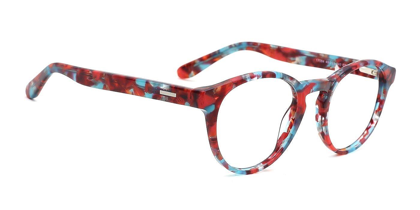 51caae77f64a1 Amazon.com  TIJN Vintage Eye-catching Keyhole Horn Rimmed Round Acetate  Eyeglasses  Clothing