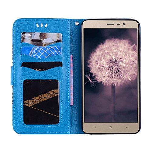 Xiaomi Redmi Note 3/Note 3 Pro Carcasa Billetera, Moon mood Mandala Tótem PU Cuero TPU Interior Caso Carcasa para Xiaomi Redmi Note 3/Note 3 Pro 5.5 pulgada Flip Kickstand Caso con Cierre Magnético Ta Azul