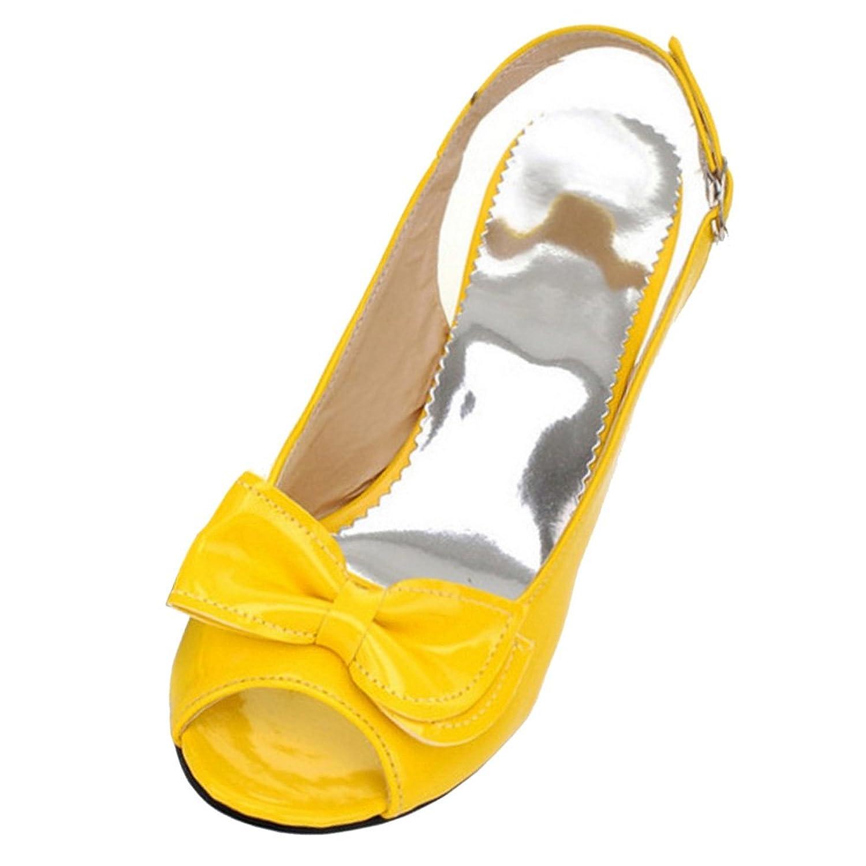 COOLCEPT Damen Mode-Event Slip on Schuhe mit Absatz Slingback Pumps Peep Toe Schuhe mit Bogen Gelb