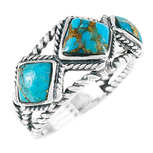 - Turquoise Ring Sterling Silver 925 Genuine Gemstones Size 6 to 11 (Teal/Matrix Turquoise) (6)
