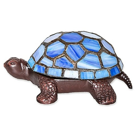 - River of Goods Stained Glass LED Wireless Turtle Accent Lamp in Blue