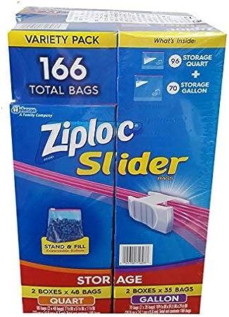 Ziploc Slider Storage Bags 166 Count Variety Pack: Quart (96 ct.), Gallon (70 ct.): Amazon.es: Salud y cuidado personal