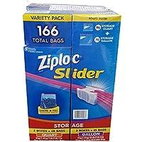 Ziploc Slider Storage Bags 166 Count Variety Pack: Quart (96 ct.), Gallon (70 ct.)