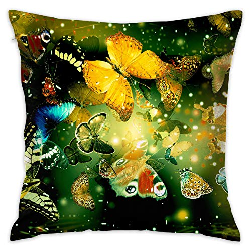 - Beautiful Butterflies Artistic Illustration Pillowcase Covers - Zippered Pillow Case Cover, Pillow Protector, Best Throw Pillow Cover - Standard Size 18x18 Inch, Double-sided Print Pillowcases