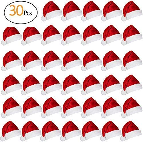 (30 Pcs 1'' Christmas Mini Red Santa Hats- Lollipop Bottle Candy Cover Cap Santa Claus Hats for Christmas Party Decor Doll Handy Craft)