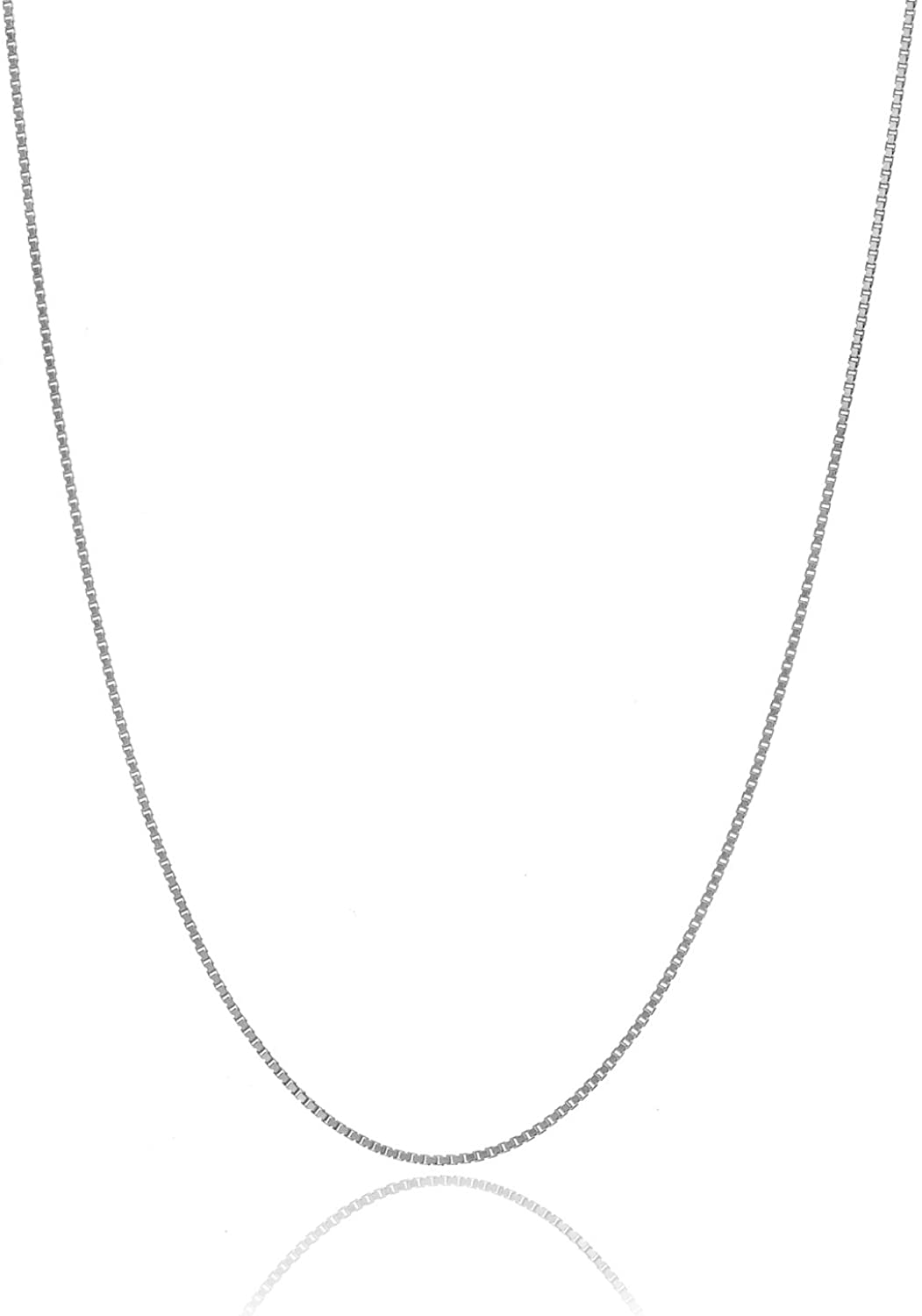 """Bling For Your Buck Solid Italian 925 Sterling Silver Very Thin .7mm Box Chain Necklace 14"""" - 36"""""""