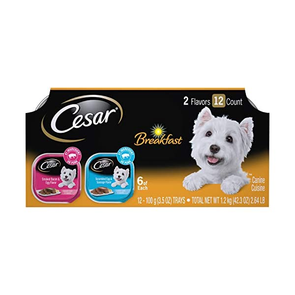 CESAR Soft Wet Dog Food Classic Loaf in Sauce Breakfast Variety Pack, 3.5 oz. (12 Count) Pack of 2 Easy Peel Trays