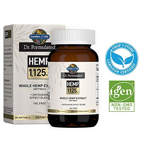 Garden of Life Dr. Formulated Hemp 1,125mg One a Day Softgels - THC Free Broad Spectrum USA Grown Whole Hemp Extract in Organic MCT Oil with Essential Oils, Non-GMO, Vegan, Gluten Free, 30 Soft Gels
