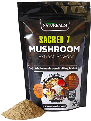 Sacred 7 Organic Mushroom Extract Powder made with Whole Mushrooms, Reishi, Maitake, Cordyceps, Shiitake, Lion's Mane, Turkey Tail, Chaga - 226g - Supplement - Add to Coffee/Tea/Smoothies (Mushroom Reishi Supplement)