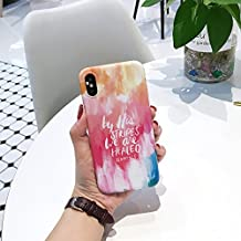 iPhone X Case for Girls, Flexible Soft Slim Fit Full Protective Cute Shell Phone Case with Colorful Watercolor & Letters Pattern for iPhone X 5.8 Inch (Watercolor)