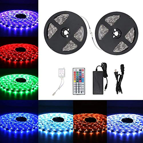 Urlitoy LED Strip Lights 16.4ft/5m 150 Units SMD 5050 LEDs Waterproof Flexible Strip Light RGB Color Changing 44 Key Remote Controller 12V DC Adapter for DIY Home Kitchen Car Bar Party Decoration by Urlitoy