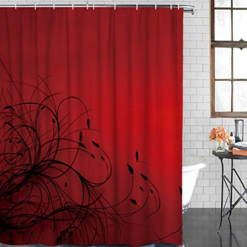 SUN-Shine Red Black Abstract Wallpaper Shower Curtain Mildew Waterproof Fabric for Bathroom With Hooks 72x84IN (Designer Fabric Wallpaper)