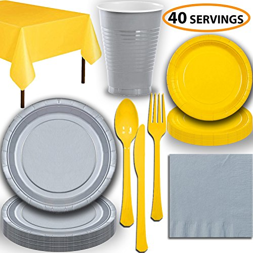 - Disposable Party Supplies, Serves 40 - Silver and Yellow - Large and Small Paper Plates, 12 oz Plastic Cups, Heavyweight Cutlery, Napkins, and Tablecloths. Full Two-Tone Tableware Set