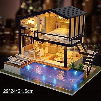 Tickas Miniatura de casa de muñecas, Casa de muñecas de Madera Miniaturas Kit de casa de Bricolaje Divertida Caja de Rompecabezas de Madera con Tapa, luz LED y Movimiento de música: Amazon.es: