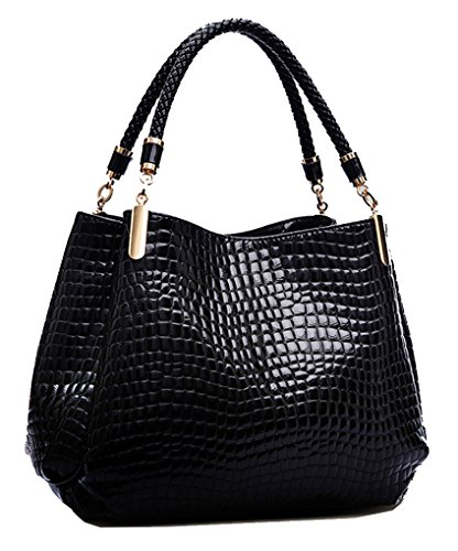 Yan Show Women's Patent Leather Shoulder Bag Crocodile Pattern Handbag Large Capacity Tote