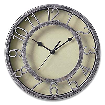 "8"" Silver Silent Wall Clock Non-ticking Wall Clock Round Ready to Hang Decor Wall Clock With Plastic Bezel - High quatity non-ticking movement, absolutely silent Protected clear glass and big roman bezeled numbers, easy to read Keyhole on back, easy for hanging - wall-clocks, living-room-decor, living-room - 51YVRzsSZeL. SS400  -"