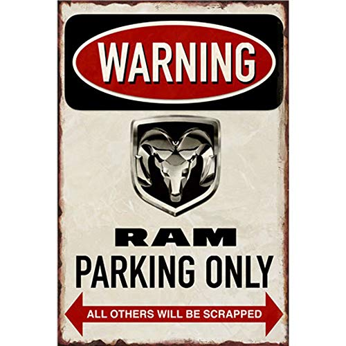 Easy Painter Warning Signs Vintage License Plate Metal Tin Embossed Sign Garage Shop Cafe - Warning RAM Parking ONLY - Tin Sign Only Parking