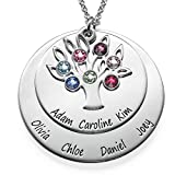 Personalized Family Tree Jewelry - Mothers Birthstone Necklace in Sterling Silver and Swarovski Gems