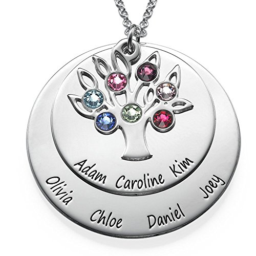 Personalized Family Tree Jewelry-Mothers Day Necklace in Sterling Silver & Swarovski Birthstones