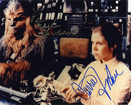 Star Wars Carrie Fisher and Peter Mayhew Signed Autographed 8x10 Inch Photo Print