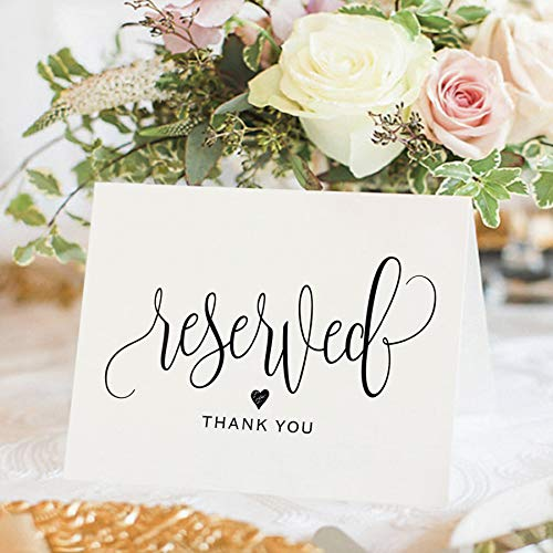 (Bliss Collections Reserved Signs for Wedding, 4x6 Reserved Table Cards, Table Setting Cards - Pack of 10)