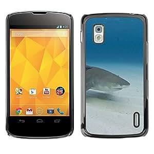 [Neutron-Star] Snap-on Series Teléfono Carcasa Funda Case Caso para LG Nexus 4 E960 [Sand Shark Underwater Blue Ocean Mar]
