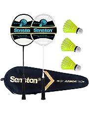 Senston Carbon Professionele badmintonset lichtgewicht badmintonracket badmintonracket veerbalknuppel met opbergtas