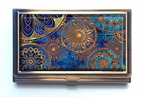 AmSun Blue Flower Custom Stainless Steel Bronze Business Card Holder Name Card Credit Card ID Wallet