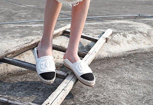 XINGMU Zapatos De Mujer Zapatos De Paja Zapatos De Pescadores Zapatos Planos Solo Zapatos Blanco
