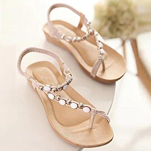 Longra 2018 Women's Summer Sandals,Spring Flat Shoes Beaded Bohemia Bead Flat Toe Post Shoes Leisure Sandals Beige
