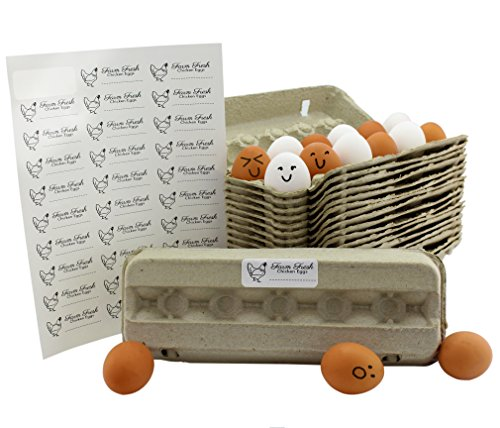 Egg Cartons (18-Pack); Each for One Dozen, Eco-friendly Recycled Material Biodegradable 12-count Egg Cartons w/Labels ()