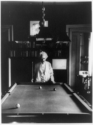 Price comparison product image Photo: Mark Twain, holding cue stick, pool table, billiards, author, novels, Tom Sawyer