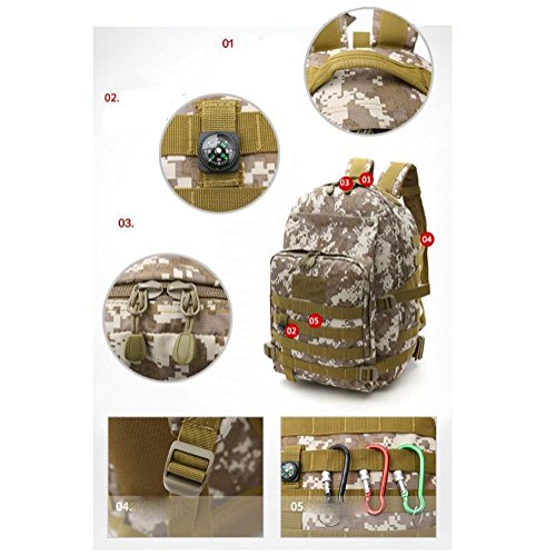 Mochila Camuflaje militar de alta capacidad lona Oxford Excursiones camping Mochila al aire libre , jungle digital Black