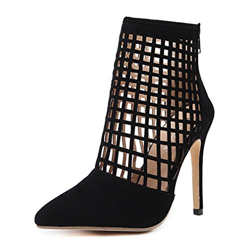 New Rome Italy Hot Spring Women Pumps Pointed Toe Thin High Heels Shoes Woman Sexy Hollow Calf High Autumn Boots Black