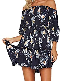 SUPEYA Summer Women Off Shoulder Ruffles Floral Tunic Casual Party Shift Short Dress