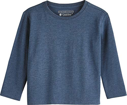 Coolibar UPF 50+ Toddler Long Sleeve Everyday T-Shirt - Sun Protective (3T- Denim Blue Heather)