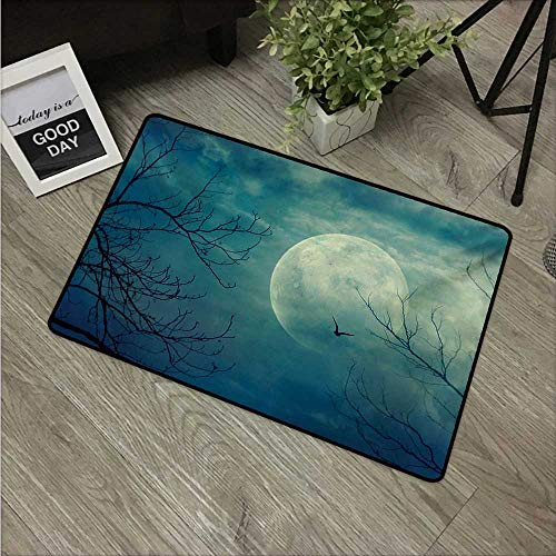 HRoomDecor Horror House,Floor mats Halloween with Full Moon in Sky and Dead Tree Branches Evil Haunted Forest Print W 31