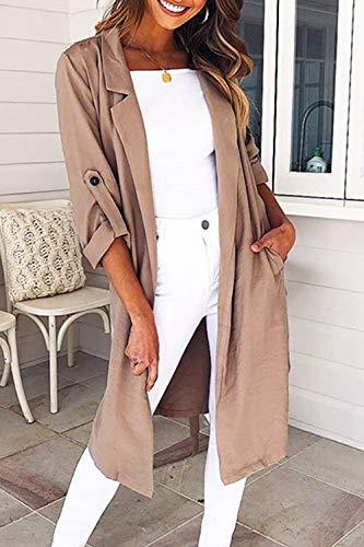 Casaul Femme Outwear Kaki Yacun Veste Manches Longues Tranchée Ouverte Avant Manteau CYxx6a