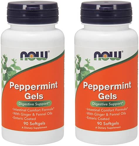 NOW Foods Peppermint Gels with Ginger Fennel Oils, 90 Softgels Pack of 2