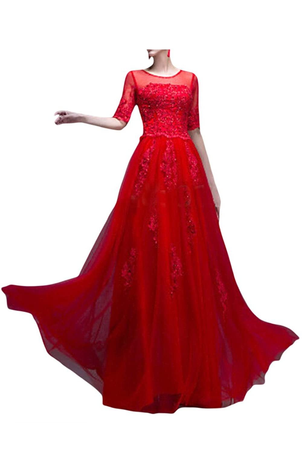 Sunvary A-Line Half Sleeves Jewel Neckline Foraml Occasion Dress Party Gowns