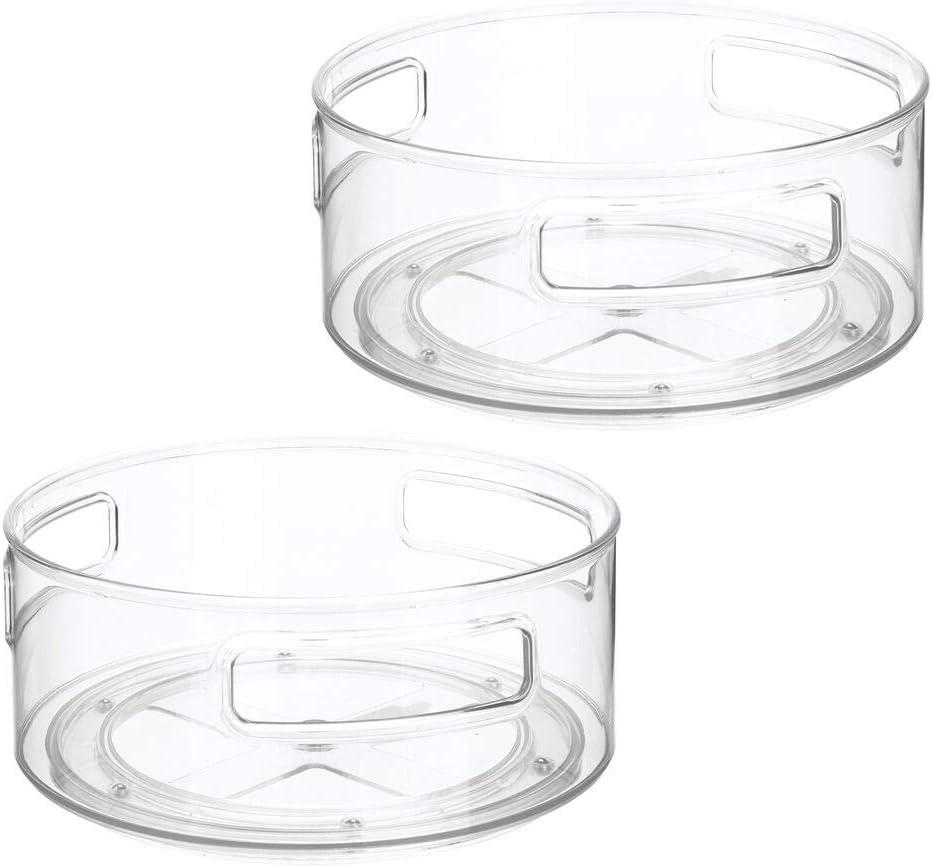 Bandeja rotatoria de bordes elevados para alimentos de beb/é chupetes champ/ú y m/ás mDesign Estante giratorio Organizador redondo de pl/ástico para el cuarto infantil pa/ñales transparente