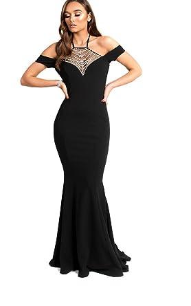 c7f95e193cb Ikrush Womens Arabella Fishtail Embellished Maxi Dress  Amazon.co.uk   Clothing