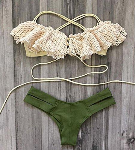 Cliont Mujeres Estilo Hawaiano Bikini Punto Conjunto Traje de Baño de Dos Piezas blanco