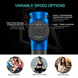 Muscle Massager, Electric Handheld Percussion Massager Gun for Deep Tissue and Fascia Soreness Relief, Rechargeable…